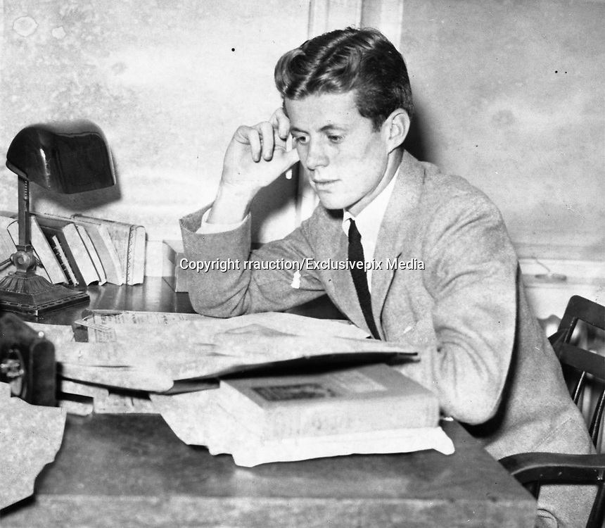 "JFK Diary up for Auction<br /> <br /> After the end of the war in 1945, Ambassador Joseph Kennedy arranged for his 28-year-old son, Jack, to work for Hearst newspapers. This allowed the young veteran to attend the opening session of the United Nations in San Francisco in May and then travel abroad to cover post-war Europe during the Summer of 1945. <br /> <br /> JFK followed Prime Minister Churchill throughout England during his reelection campaign. He traveled to Ireland, France, then to the Potsdam Conference in Germany with Navy Secretary James Forrestal. He even viewed the charred remains of Hitler's bombed out bunker in Berlin and observed the Fuhrer's famed Berchtesgaden 'Eagle's Nest.'<br /> <br /> John F. Kennedy recorded his historic trip in a 61-page diary, documenting his personal observations of what he saw firsthand and perceptions of what would happen in the post-war world. This incredible manuscript reveals his insightful views and predictions of the world around him at an early age—a man who would, sixteen years later, become America's 35th President.<br /> <br /> Comprised of 61 loose-leaf pages, 12 handwritten and 49 typed, the diary is housed in a quality Trussell cowhide leather binder. <br /> <br /> Photo shows: John F. Kennedy in his junior year at Harvard University.<br /> John F. kennedy Presidential Library and Museum, Boston."" 1938<br /> ©rrauction/Exclusivepix Media"