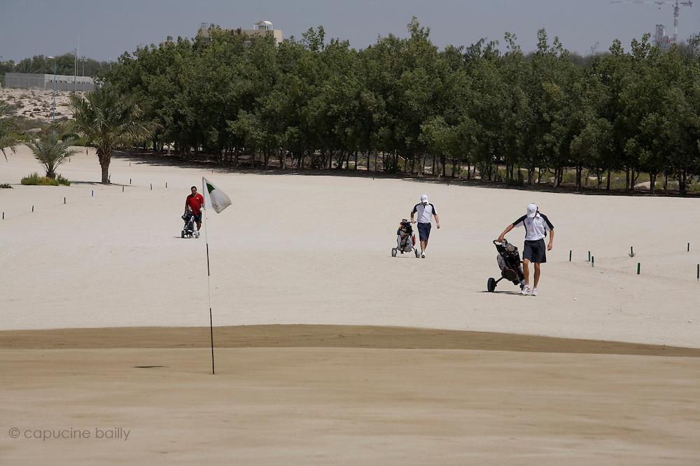 Abu Dhabi, United Arab Emirates (UAE). .March 20th 2009..Al Ghazal Golf Club..36th Abu Dhabi Men's Open Championship..From left to right : Alex Charawani, Craig Martin and Andrew Marshall