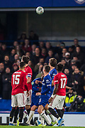 Line up ahead of the free kick taken by Marcus Rashford (Man United) during the EFL Cup match between Chelsea and Manchester United at Stamford Bridge, London, England on 30 October 2019.