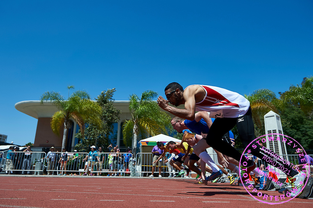 SO athletes in action while 100 meters competition during third day of the Special Olympics World Games Los Angeles 2015 on July 27, 2015 at Loker Stadium on University of Southern California in Los Angeles, USA.<br /> USA, Los Angeles, July 27, 2015<br /> <br /> Picture also available in RAW (NEF) or TIFF format on special request.<br /> <br /> For editorial use only. Any commercial or promotional use requires permission.<br /> <br /> Adam Nurkiewicz declares that he has no rights to the image of people at the photographs of his authorship.<br /> <br /> Mandatory credit:<br /> Photo by © Adam Nurkiewicz / Mediasport