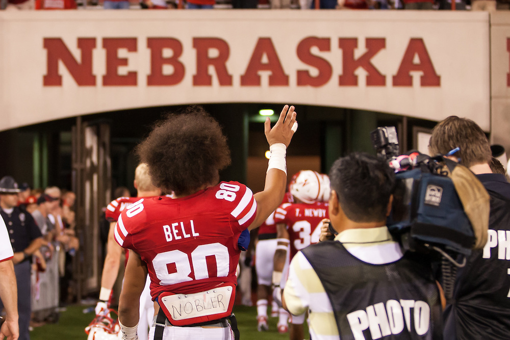 September 7, 2013: Kenny Bell #80 of the Nebraska Cornhuskers waves to the fans after the game against the Southern Miss Golden Eagles at Memorial Stadium in Lincoln, Nebraska.