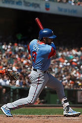 SAN FRANCISCO, CA - AUGUST 26: Isiah Kiner-Falefa #9 of the Texas Rangers at bat against the San Francisco Giants during the seventh inning at AT&T Park on August 26, 2018 in San Francisco, California. The San Francisco Giants defeated the Texas Rangers 3-1. All players across MLB will wear nicknames on their backs as well as colorful, non-traditional uniforms featuring alternate designs inspired by youth-league uniforms during Players Weekend. (Photo by Jason O. Watson/Getty Images) *** Local Caption *** Isiah Kiner-Falefa