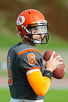 KELOWNA, BC - OCTOBER 6:  Ethan Newman #6 of Okanagan Sun warms up against the VI Raiders for the final BCFC regular season at the Apple Bowl on October 6, 2019 in Kelowna, Canada. (Photo by Marissa Baecker/Shoot the Breeze)