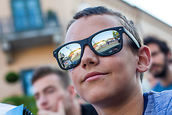 Fan and reflection of the court in sunglasses at Beach Volleyball Challenge Ljubljana 2014, on August 1, 2014 in Kongresni trg, Ljubljana, Slovenia. Photo by Matic Klansek Velej / Sportida.com