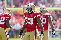 18 September 2011: Linebacker (53) NaVorro Bowman of the San Francisco 49ers against the Dallas Cowboys during the first half of the Cowboys 27-24 overtime victory against the 49ers in an NFL football game at Candlestick Park in San Francisco, CA