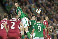 September 5, 2017 - Dublin, Ireland - Shane Duffy of Ireland heads the ball during the FIFA World Cup 2018 Qualifying Round match between Republic of Ireland and Serbia at Aviva Stadium in Dublin, Ireland on September 5, 2017  (Credit Image: © Andrew Surma/NurPhoto via ZUMA Press)