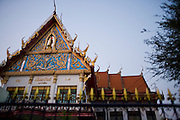 21 FEBRUARY 2008 -- KANCHANABURI, THAILAND: The roofline of a Buddhist Wat (temple) in Kanchanaburi, Thailand.  Photo by Jack Kurtz