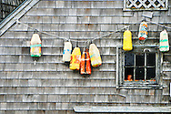 Scenic view of colorful bouys in Digby, Nova Scotia Harbor on the Bay of Fundy with Scallop, Lobster, Halibut and Cod fishing boats common in the upperAtlantic coast.