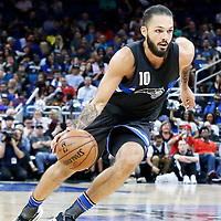 25 February 2017: Orlando Magic guard Evan Fournier (10) drives during the Orlando Magic 105-86 victory over the Atlanta Hawks, at the Amway Center, Orlando, Florida, USA.