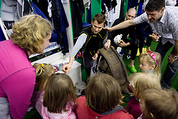 Goalkeeper  of Slovenian Ice Hockey National team HOCEVAR Andrej and ex player Robert Ciglenecki  at visit of children of kindergarten Mojca from Dravlje, Ljubljana during the IIHF World Championship Division 1 Group B tournament, on April 21, 2010, in Hala Tivoli, Ljubljana, Slovenia.  (Photo by Vid Ponikvar / Sportida)