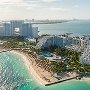 Aerial view of Riu Hotels Cancun. Quintana roo. Mexico.