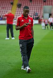 EXETER, ENGLAND - Wednesday, August 24, 2011: Liverpool's Raheem Sterling before the Football League Cup 2nd Round match against Exeter City at St James Park. (Pic by David Rawcliffe/Propaganda)