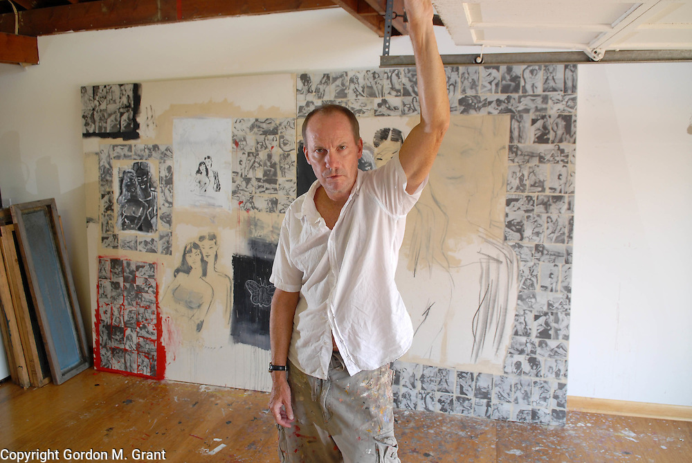 Sagaponack, NY - 8/10/06 -   The artist Richard Prince in his studio at his home  in Sagaponack, NY August 10, 2006.    (Photo by Gordon M. Grant)<br />