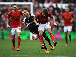 Adlene Guedioura of Watford (L) and Jamie Ward of Nottingham Forest in action - Mandatory byline: Jack Phillips/JMP - 30/01/2016 - FOOTBALL - The City Ground - Nottingham, England - Nottingham Forest v Watford - The Emirates FA Cup