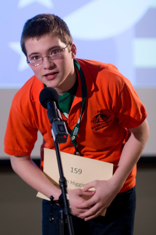 Ian Higgins of West Liberty-Salem Middle School introduces himself during the Southeastern Ohio Regional Spelling Bee Regional Saturday, March 16, 2013. The Regional Spelling Bee was sponsored by Ohio University's Scripps College of Communication and held in Margaret M. Walter Hall on OU's main campus.