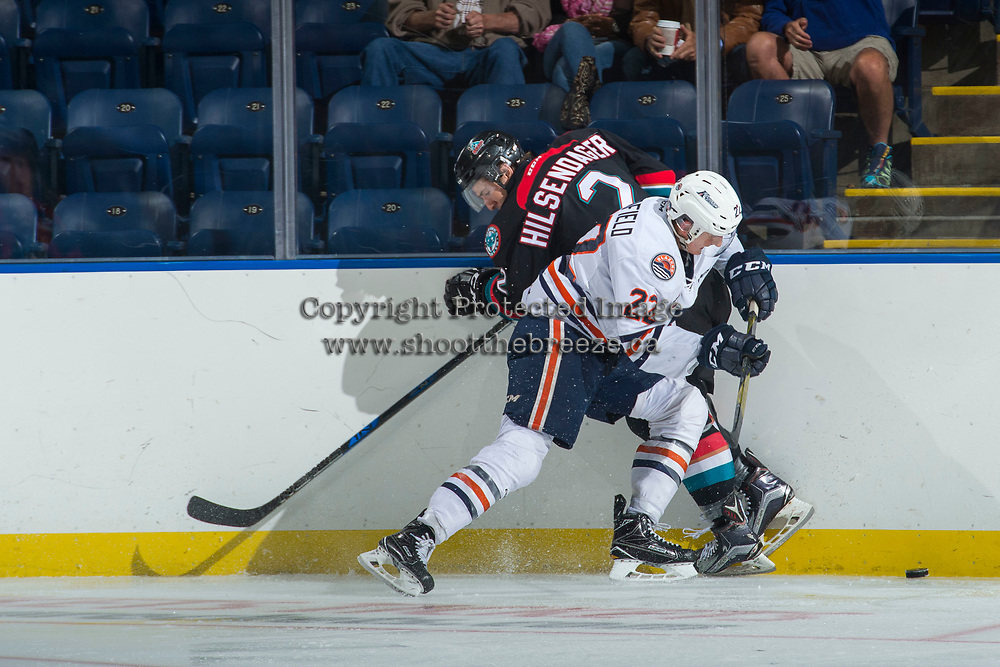 KELOWNA, CANADA - SEPTEMBER 5: James Hilsendager #2 of the Kelowna Rockets is checked by Quinn Benjafield #22 of the Kamloops Blazers on September 5, 2017 at Prospera Place in Kelowna, British Columbia, Canada.  (Photo by Marissa Baecker/Shoot the Breeze)  *** Local Caption ***