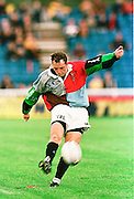 Twickenham, GREAT BRITAIN. Quins' xxxxx kicks the ball during the Harlequins v Saracens on 9/10/1999 at the Stoop. England.  [Mandatory Credit; peter Spurrier; Intersport Images]