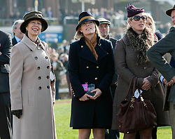 Princess Anne watches the races alongside Zara Phillips and Autumn Phillips at the Cheltenham Festival. Cheltenham Race Course, Cheltenham, United Kingdom. Wednesday, 12th March 2014. Picture by i-Images