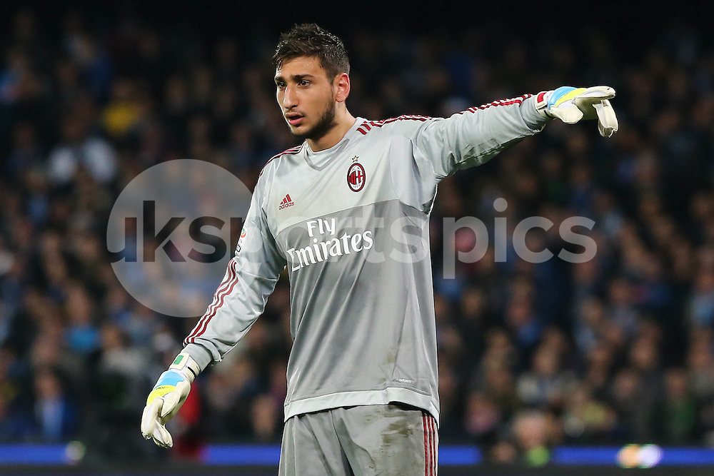 Gianluigi Donnarumma of AC Milan during the Serie A TIM match between Napoli and AC Milan at Stadio San Paolo, Naples, Italy on 22 February 2016. Photo by Alfredo Panico.