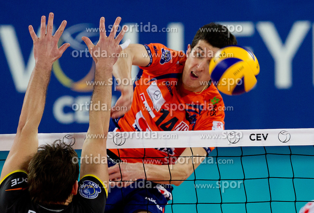 Milan Rasic of ACH during volleyball match between ACH Volley LJUBLJANA and  PGE Skra Belchatow (POL) of 2012 CEV Volleyball Champions League, Men, League Round in Pool F, 4th Leg, on December 20, 2011, in Arena Stozice, Ljubljana, Slovenia. Belchatow defeated ACH 3-0. (Photo By Vid Ponikvar / Sportida.com)