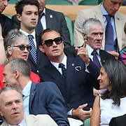 LONDON, ENGLAND - JULY 14: Actor Jude Law in the Royal box on Centre Court for the Gentlemen's Singles Semi-finals of the Wimbledon Lawn Tennis Championships at the All England Lawn Tennis and Croquet Club at Wimbledon on July 14, 2017 in London, England. (Photo by Tim Clayton/Corbis via Getty Images)