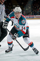 KELOWNA, CANADA -FEBRUARY 1: Rourke Chartier #14 of the Kelowna Rockets skates against the Kamloops Blazers on February 1, 2014 at Prospera Place in Kelowna, British Columbia, Canada.   (Photo by Marissa Baecker/Getty Images)  *** Local Caption *** Rourke Chartier;