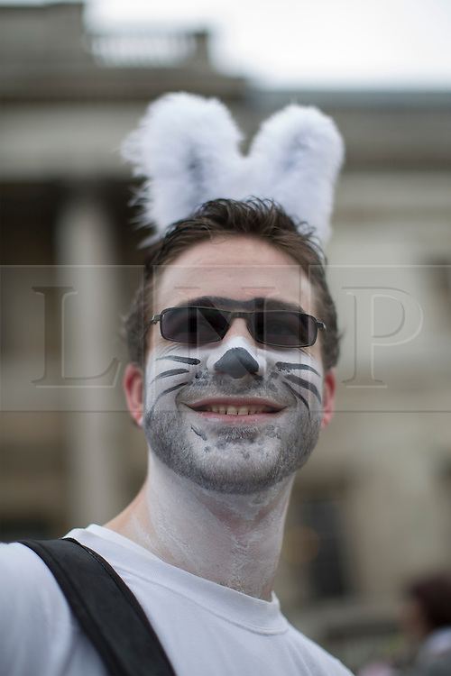 © licensed to London News Pictures. London, UK 31/03/2013. People dressed as Easter Bunnies skating to celebrate Easter in central London on Sunday 31 March 2013. Photo credit: Tolga Akmen/LNP