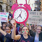 Torino, 15 Marzo 2019<br /> migliaia di giovani in piazza per lo sciopero generale per il pianeta lanciato da Greta Thunberg diventata simbolo della lotta ai cambiamenti climatici Fridays For Future