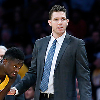 05 December 2016: Los Angeles Lakers forward Julius Randle (30) is seen next to Los Angeles Lakers head coach Luke Walton during the Utah Jazz 107-101 victory over the Los Angeles Lakers, at the Staples Center, Los Angeles, California, USA.