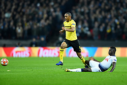 February 13, 2019 - London, England, United Kingdom - Tottenham defender Davinson Sanchez gets his tackle in on Borussia Dortmund defender Abdou Diallo during the UEFA Champions League match between Tottenham Hotspur and Ballspielverein Borussia 09 e.V. Dortmund at Wembley Stadium, London on Wednesday 13th February 2019. (Credit: Jon Bromley | MI News & Sport Ltd) (Credit Image: © Mi News/NurPhoto via ZUMA Press)