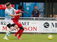 FODBOLD: Andreas Holm (FC Helsingør) i kamp med Ernest Asante (FC Nordsjælland) under træningskampen mellem FC Helsingør og FC Nordsjælland den 23. juni 2017 på Helsingør Stadion. Foto: Claus Birch