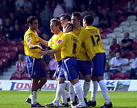 Photo: Charlie Crowhurst.<br />Brentford v Nottingham Forest. Coca Cola League 1. 14/04/2007. Kris Commons (C) celebrates with team mates after scoring.