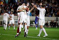 Photo: Richard Lane/Sportsbeat Images.<br />France v Scotland. UEFA European Championships Qualifying. 12/09/2007. <br />Scotland celebrate victory over France.