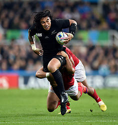 Ma'a Nonu of New Zealand takes on the Tonga defence on the occasion of his 100th cap - Mandatory byline: Patrick Khachfe/JMP - 07966 386802 - 09/10/2015 - RUGBY UNION - St James' Park - Newcastle, England - New Zealand v Tonga - Rugby World Cup 2015 Pool C.