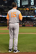 PHOENIX, AZ - AUGUST 27:  Manager Bruce Bochy #15 of the San Francisco Giants wearing a nickname-bearing jersey stands for the national anthem for the game against the Arizona Diamondbacks at Chase Field on August 27, 2017 in Phoenix, Arizona.  (Photo by Jennifer Stewart/Getty Images)