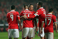 February 3, 2018 - Lisbon, Portugal - Benfica's Portuguese defender Ruben Dias celebrates with teammates after scoring during the Portuguese League football match SL Benfica vs Rio Ave FC at the Luz stadium in Lisbon on February 3, 2018. Photo: Pedro Fiuza (Credit Image: © Pedro Fiuza via ZUMA Wire)