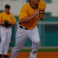 February 21, 2011; Bradenton, FL, USA; Pittsburgh Pirates first baseman Steve Pearce (51) during spring training at Pirate City minor league training complex.  Mandatory Credit: Derick E. Hingle