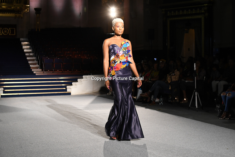 Designer Rusuvero Showcases it latest collection at the Africa Fashion Week London (AFWL) at Freemasons' Hall on 11 August 2018, London, UK.