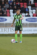 Barry Fuller (Captain) defender for AFC Wimbledon (2) during the Sky Bet League 2 match between Dagenham and Redbridge and AFC Wimbledon at the London Borough of Barking and Dagenham Stadium, London, England on 19 April 2016. Photo by Stuart Butcher.