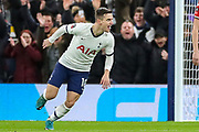 Goal! Tottenham Hotspur midfielder Giovani Lo Celso (18) scores a goal and celebrates 1-0 during the FA Cup third round replay match between Tottenham Hotspur and Middlesbrough at Tottenham Hotspur Stadium, London, United Kingdom on 14 January 2020.