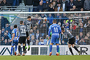 Coventry City player Jonson Clarke-Harris (18) heads at goal during the The FA Cup match between Brighton and Hove Albion and Coventry City at the American Express Community Stadium, Brighton and Hove, England on 17 February 2018. Picture by Phil Duncan.
