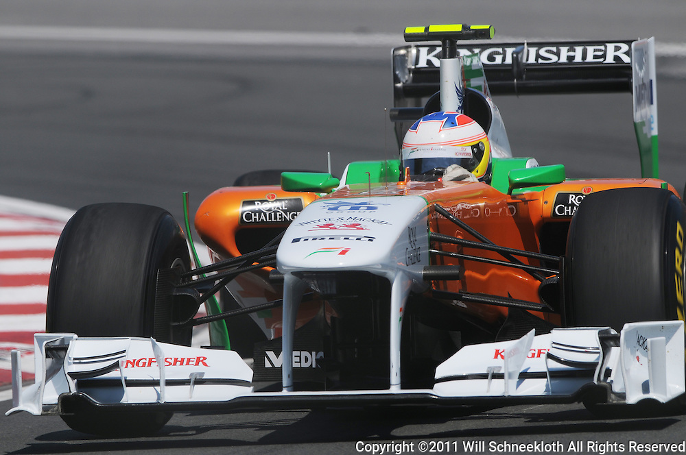 Briton Paul di Resta pilots the Force India VJM04 during practice for the 2011 Formula 1 Canadian Grand Prix, Montral, QC.
