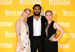 Lily James (left), Himesh Patel and Kate McKinnon (right) attending the Yesterday UK Premiere held in London, UK.