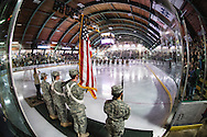 The singing of the National Anthem during the men's hockey game between the Clarkson Golden Knights and the Vermont Catamouts at Gutterson Fieldhouse on Saturday night October 8, 2016 in Burlington. (BRIAN JENKINS/for the FREE PRESS)