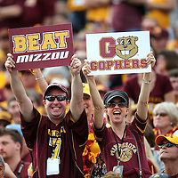 ORLANDO, FL - JANUARY 01:  Minnesota fans hold up signs during the Buffalo Wild Wings Citrus Bowl between the Minnesota Golden Gophers and the Missouri Tigers at the Florida Citrus Bowl on January 1, 2015 in Orlando, Florida. (Photo by Alex Menendez/Getty Images) *** Local Caption ***