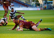 Daniel Smith of Huddersfield Giants scores the try against Hull FC during the Betfred Super League match at the John Smiths Stadium, Huddersfield<br /> Picture by Stephen Gaunt/Focus Images Ltd +447904 833202<br /> 05/07/2018