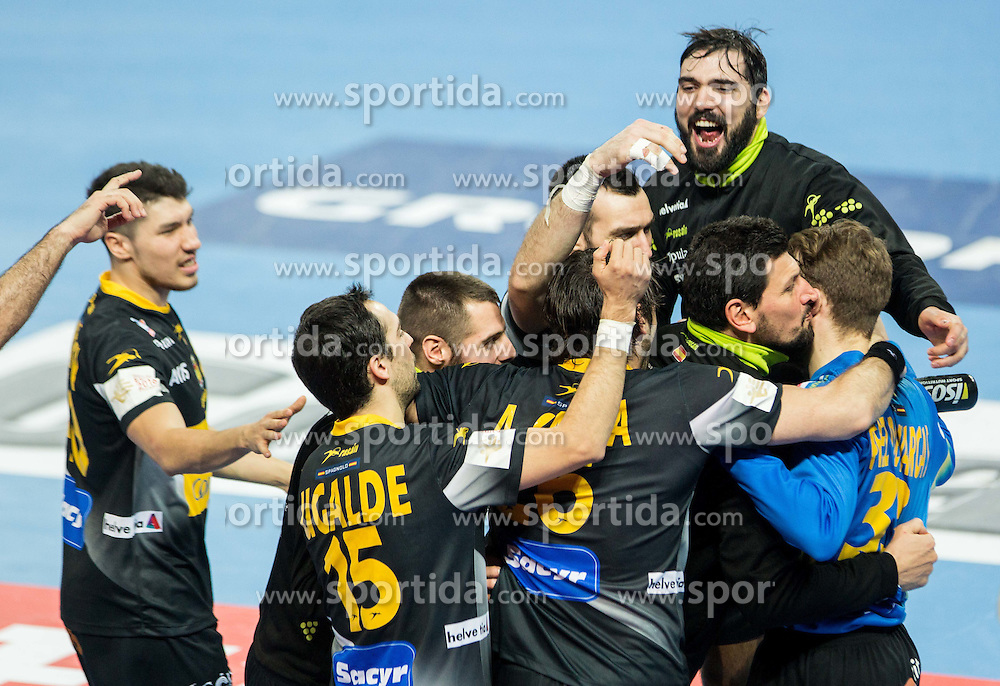 Arpad Sterbik of Spain, Gonzalo Perez de Vargas of Spain and other players of celebrate after winning during handball match between National teams of Spain and Sweden on Day 6 in Preliminary Round of Men's EHF EURO 2016, on January 20, 2016 in Centennial Hall, Wroclaw, Poland. Photo by Vid Ponikvar / Sportida