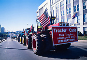 Striking farmers Tractorcade rolls into Georgia's capitol city of Atlanta, surrounding the Georgia state capitol.