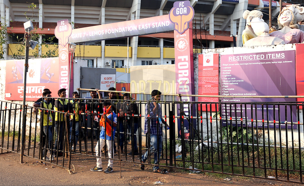 Entry gates during match 39 of the Indian Super League (ISL) season 2  between FC Goa and Mumbai City FC held at the Jawaharlal Nehru Stadium, Fatorda, Goa, India on the 17th November 2015.<br /> <br /> Photo by Sandeep Shetty / ISL/ SPORTZPICS