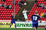 23.07.2005, Ratina, Tampere, Finland..UEFA Intertoto Cup, 3rd round, 2nd leg match.Tampere United v S.S. Lazio.Matias Lequi (Lazio) v Ville Lehtinen (TamU - left).©Juha Tamminen.....ARK:k